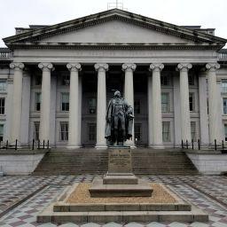 North entrance of the U.S. Treasury Building in Washington D.C.